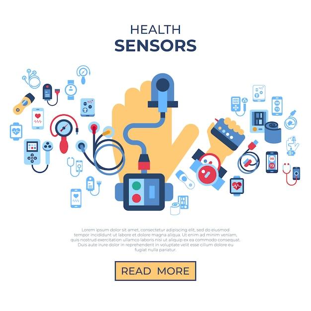 Collection d'icônes de capteur de santé Vecteur Premium