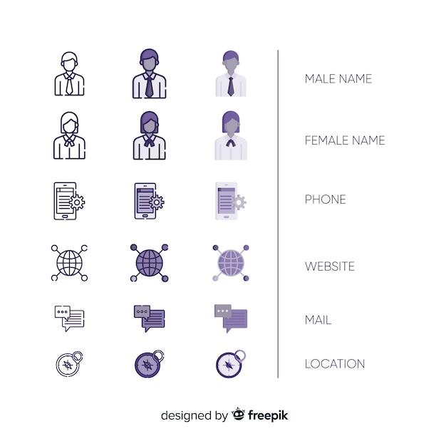 Collection d'icônes de carte de visite Vecteur gratuit