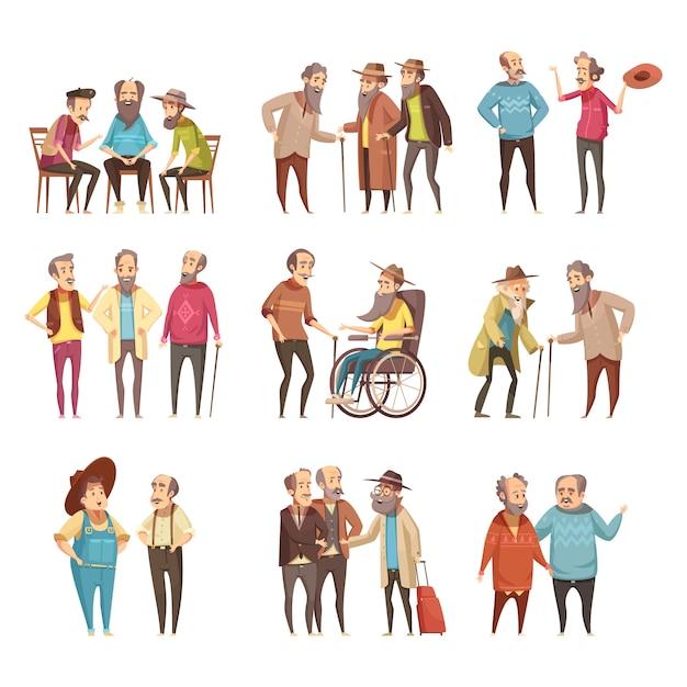 Collection d'icônes cartoon rétro activités de socialisation des groupes d'hommes senior avec canne et en illustration vectorielle de fauteuil roulant Vecteur gratuit