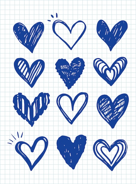Collection D'icônes De Coeur, Modèle De Symboles D'amour Vecteur Premium