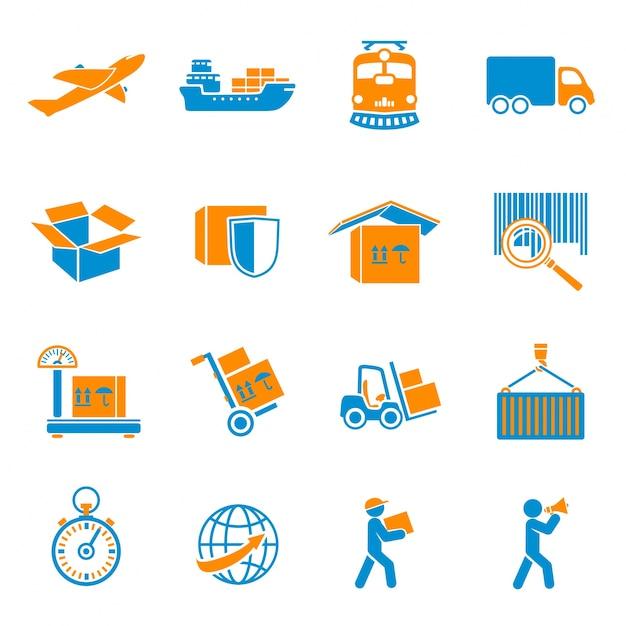 Collection d'icônes de colis Vecteur gratuit