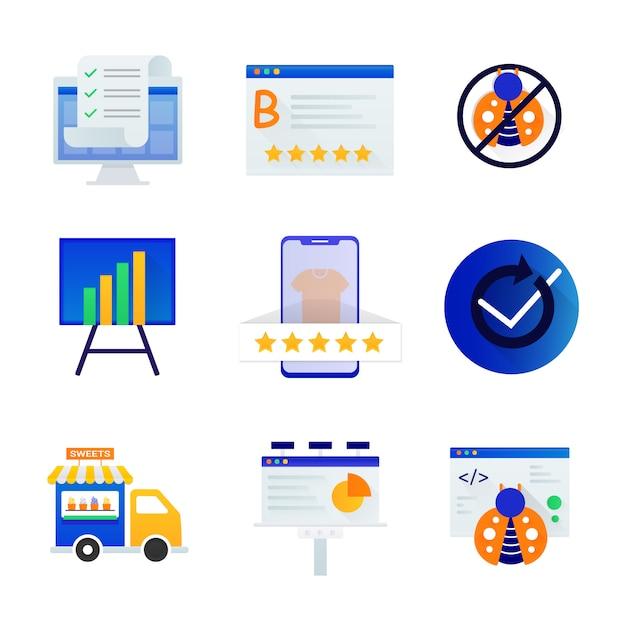 Collection d'icônes de commerce électronique Vecteur Premium