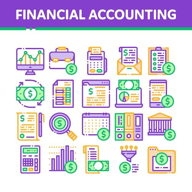 Collection d'icônes de comptabilité financière Vecteur Premium