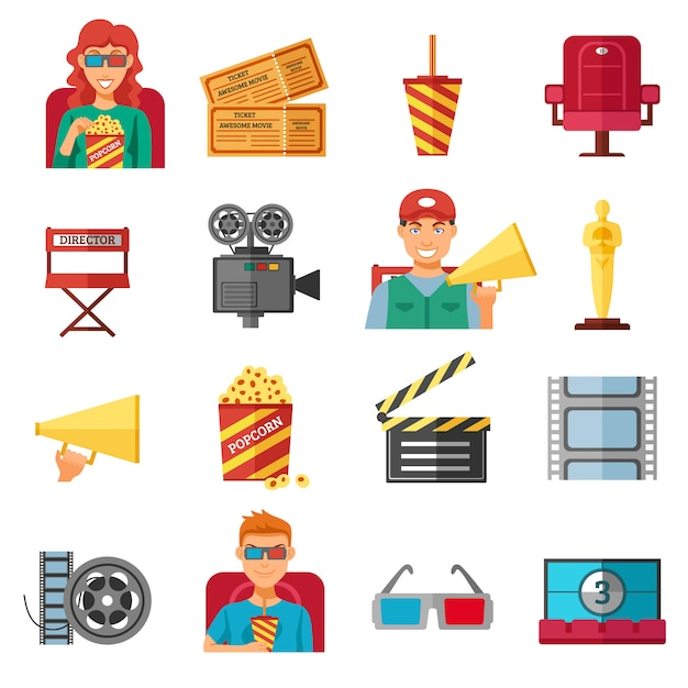 Collection d'icônes décoratives cinéma couleur plat Vecteur gratuit