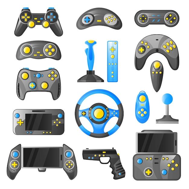 Collection d'icônes décoratives de gadget de jeu Vecteur gratuit