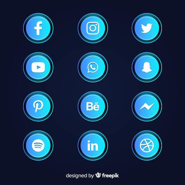 Collection d'icônes de dégradé de médias sociaux Vecteur gratuit