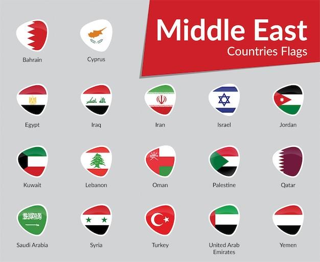 Collection d'icônes de drapeau des pays du moyen-orient Vecteur Premium
