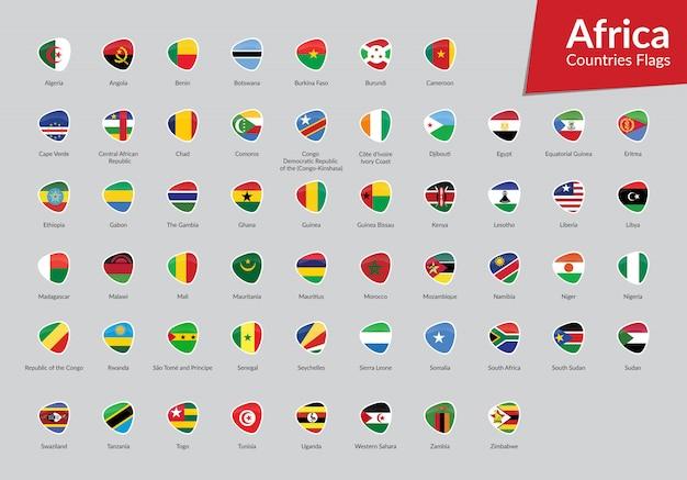 Collection d'icônes de drapeaux africains Vecteur Premium