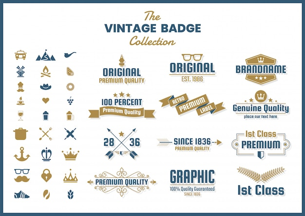 Collection d'icônes, emblèmes et insignes rétro vintage Vecteur Premium