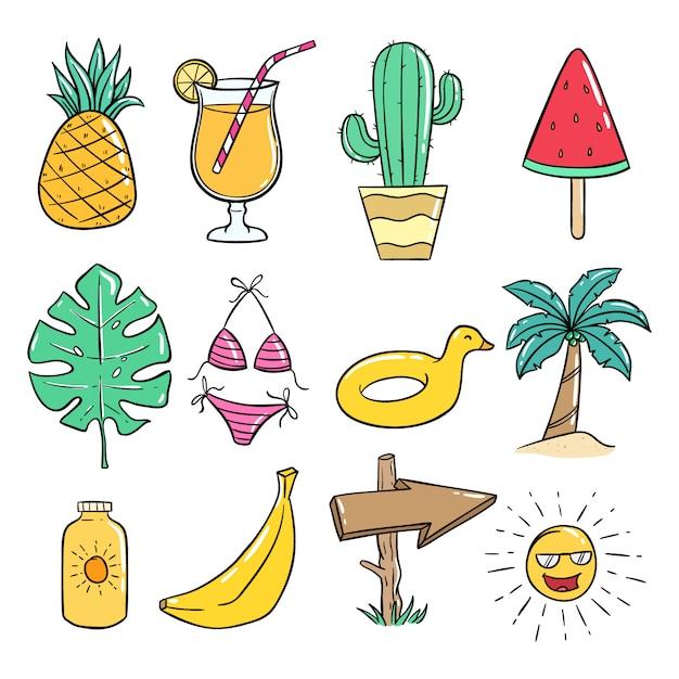Collection d'icônes de l'été avec style doodle coloré sur blanc Vecteur Premium