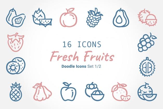 Collection D'icônes De Fruits Frais Vector Doodle Vecteur Premium