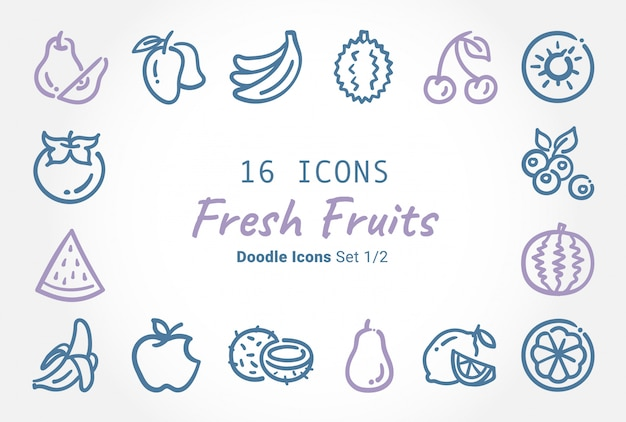 Collection D'icônes De Fruits Frais Vector Doodle Vecteur Premium