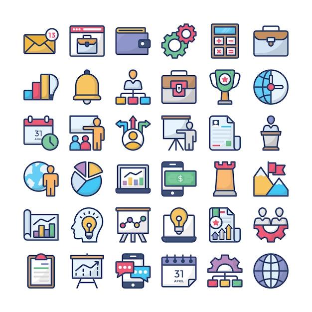 Collection d'icônes de gestion d'entreprise Vecteur Premium