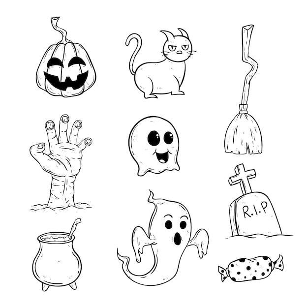 Collection d'icônes d'halloween mignons avec style doodle Vecteur Premium
