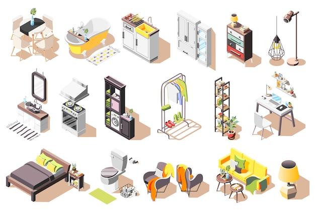 Collection D'icônes Intérieures Loft D'images Isolées Avec Des Meubles De Style Moderne Pour Les Salons Et La Salle De Bain Vecteur gratuit