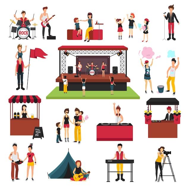 Collection d'icônes isolée de festival en plein air avec des personnages humains de fest visiteurs familles musiciens soda jerks Vecteur gratuit