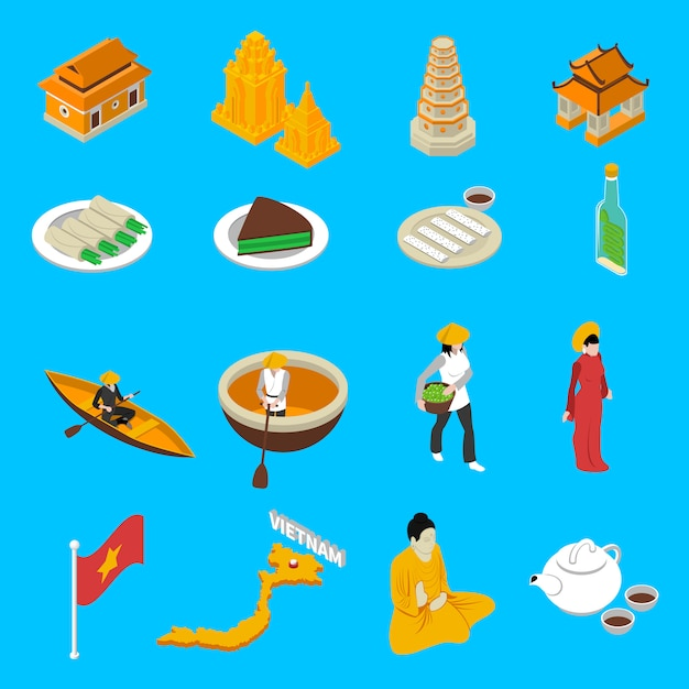 Collection d'icônes isométrique des attractions touristiques du vietnam Vecteur gratuit