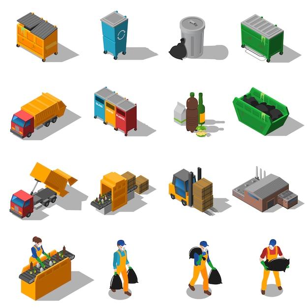 Collection D'icônes Isométriques De Recyclage Des Ordures Vecteur gratuit