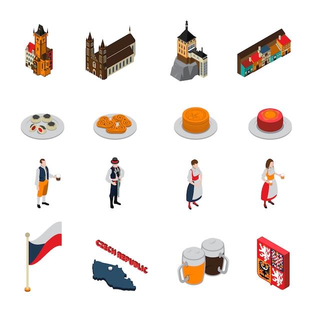 Collection d'icônes isométriques de symboles de république tchèque Vecteur gratuit