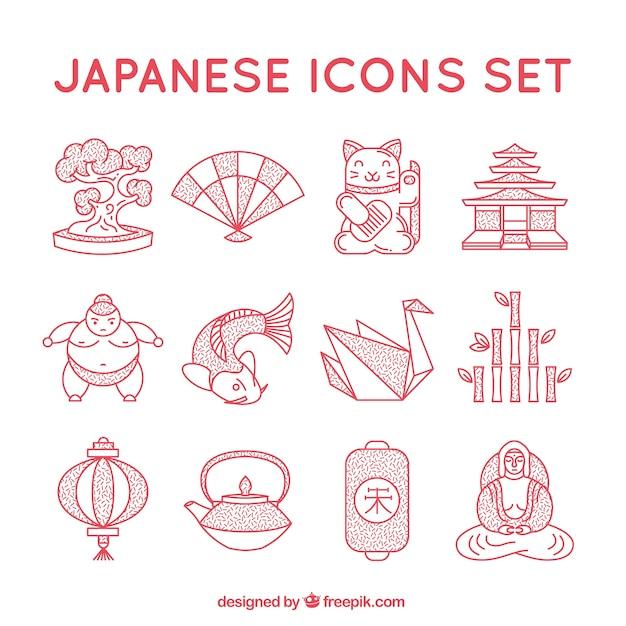Collection D'icônes Japonaises Vecteur gratuit