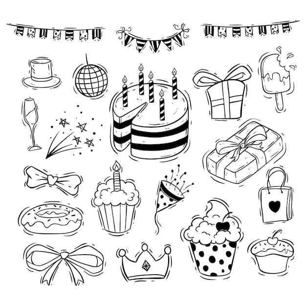 Collection d'icônes de joyeux anniversaire avec un gâteau, une boîte-cadeau et un ruban Vecteur Premium