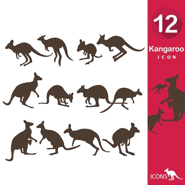 Collection D'icônes Kangourou Vecteur gratuit