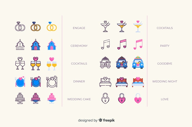 Collection d'icônes de mariage coloré Vecteur gratuit