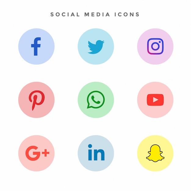 Collection d'icônes de médias sociaux modernes Vecteur gratuit