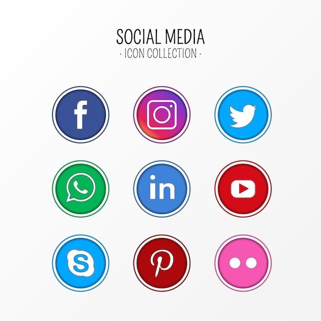 Collection d'icônes de médias sociaux Vecteur gratuit