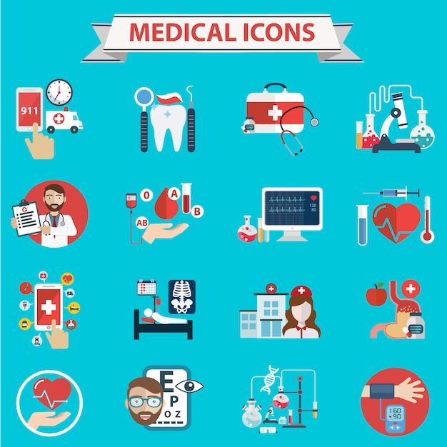 Collection d'icônes médicaux Vecteur gratuit