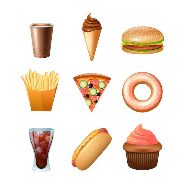 Collection d'icônes de menu de restauration rapide avec un gâteau et un double cheeseburger beignet Vecteur gratuit