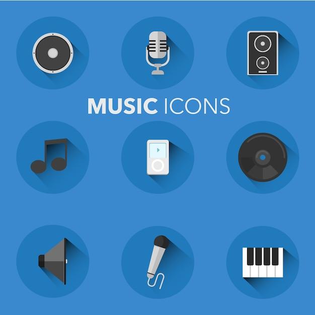 Collection d'icônes de musique Vecteur gratuit