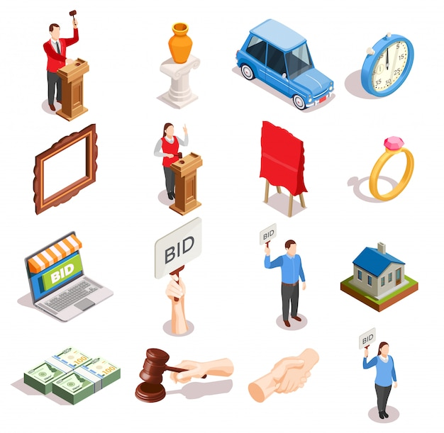 Collection d'icônes d'objets aux enchères Vecteur gratuit