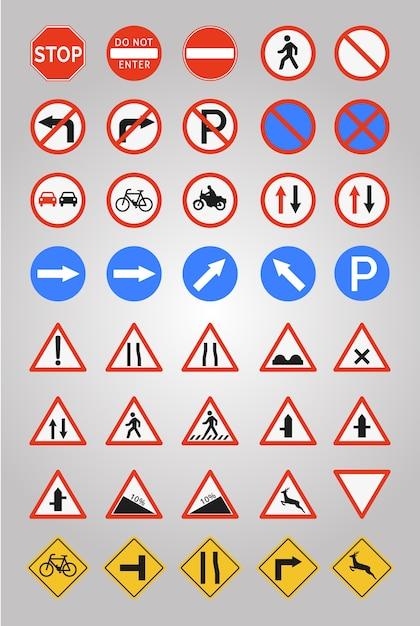 Collection D'icônes Des Panneaux Routiers Vecteur gratuit