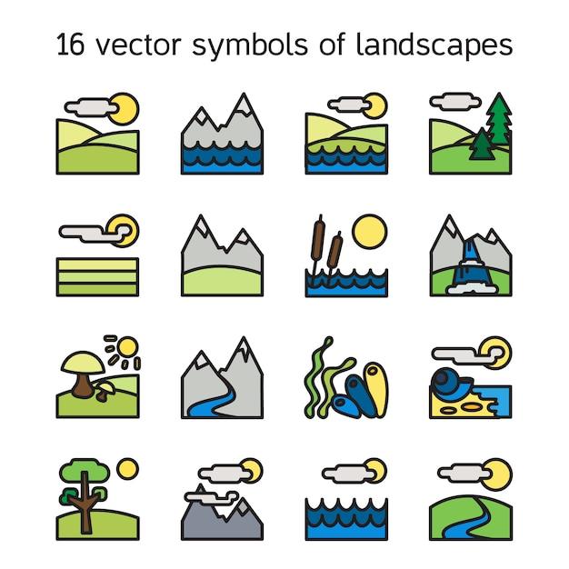 Collection d'icônes de paysage. symboles de la nature et paysages en forme de rectangle. Vecteur Premium