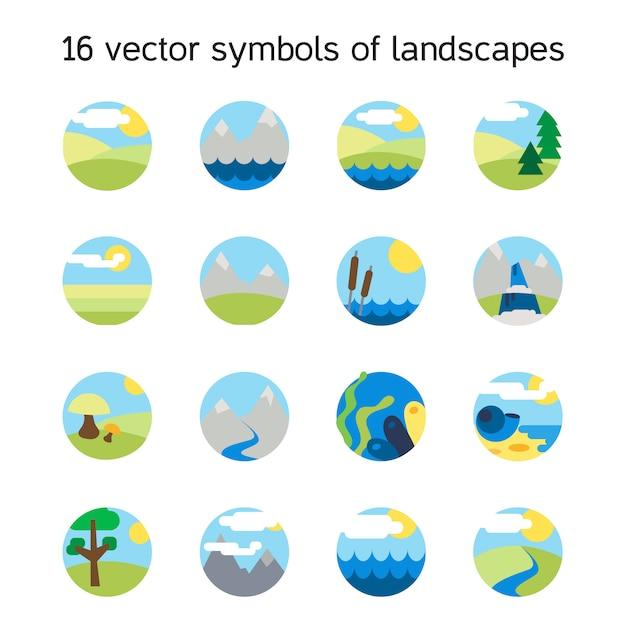 Collection d'icônes de paysage. symboles de la nature et paysages en forme ronde. Vecteur Premium