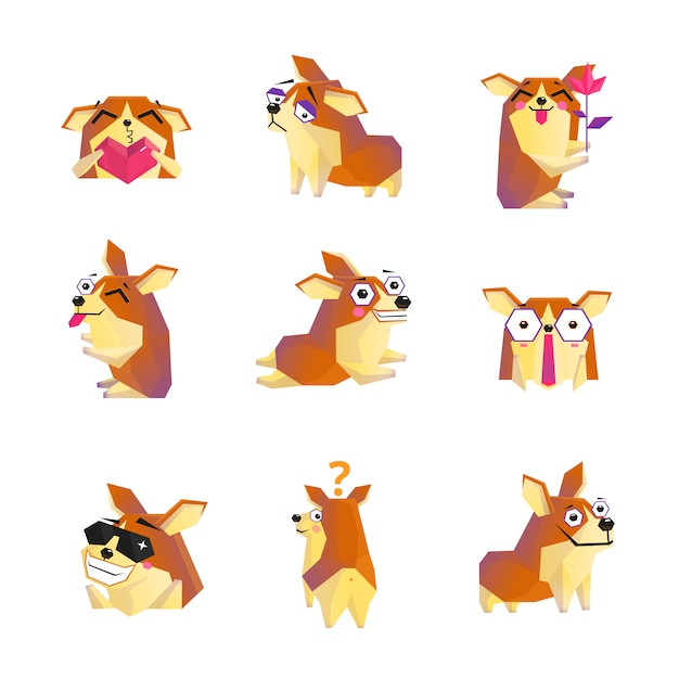 Collection d'icônes de personnage de dessin animé chien corgi Vecteur gratuit