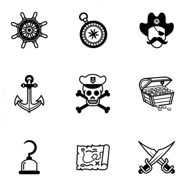 Collection D'icônes Pirate Vecteur gratuit