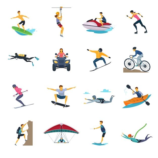 Collection d'icônes plat d'activités de sport extrême Vecteur gratuit
