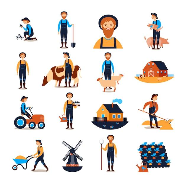 Collection D'icônes Plat Agriculteurs Vecteur gratuit