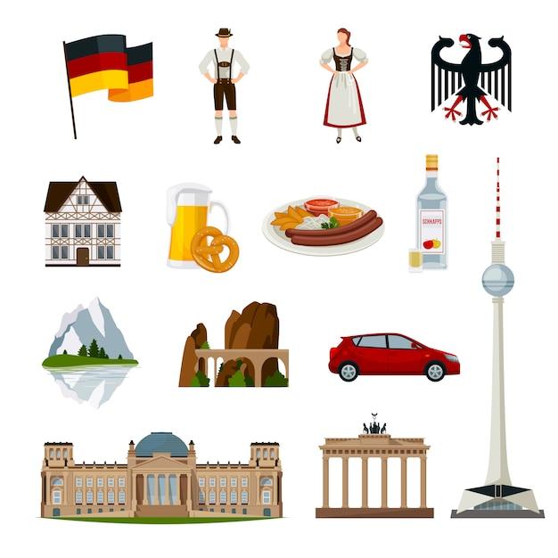 Collection D'icônes Plat Allemagne Vecteur gratuit