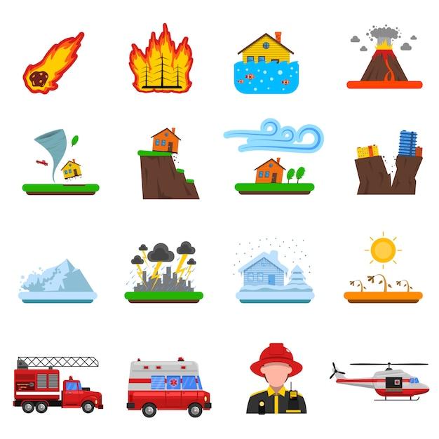 Collection d'icônes plat catastrophe naturelle Vecteur gratuit