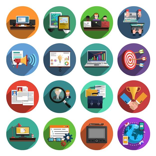 Collection d'icônes plat rond freelance Vecteur gratuit