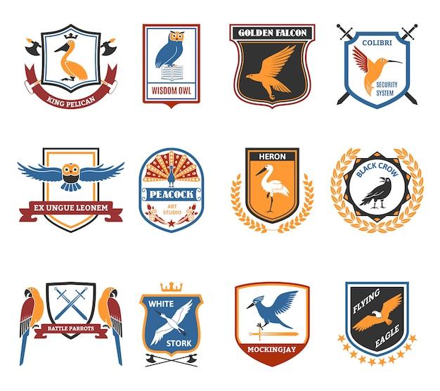 Collection d'icônes plates oiseaux Vecteur gratuit