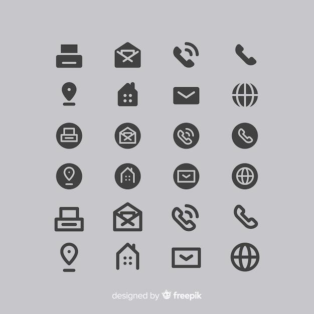 Collection D'icônes Pour Carte De Visite Vecteur Premium