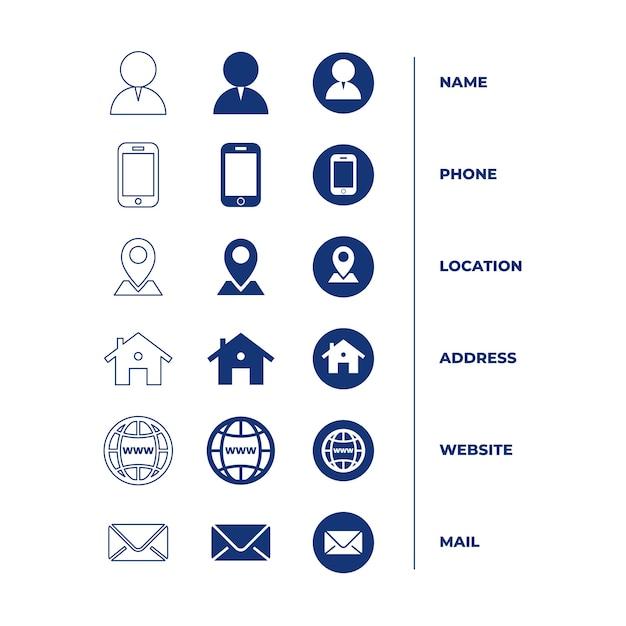 Collection d'icônes pour carte de visite Vecteur gratuit