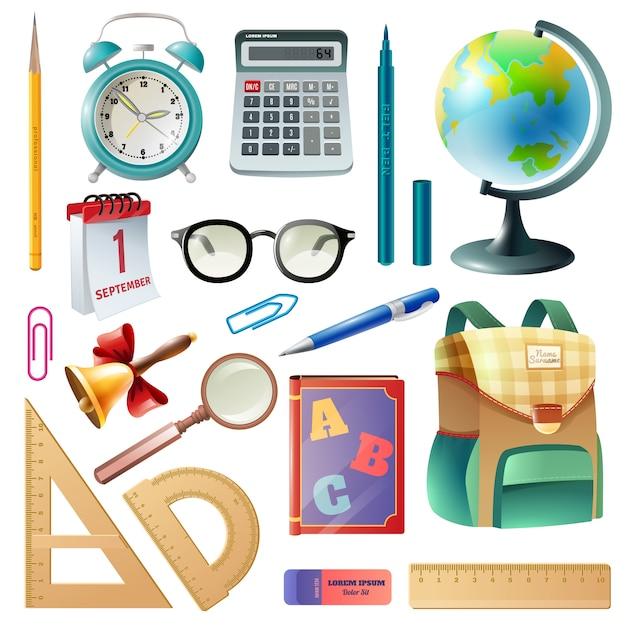 Collection d'icônes réalistes de fournitures scolaires Vecteur gratuit