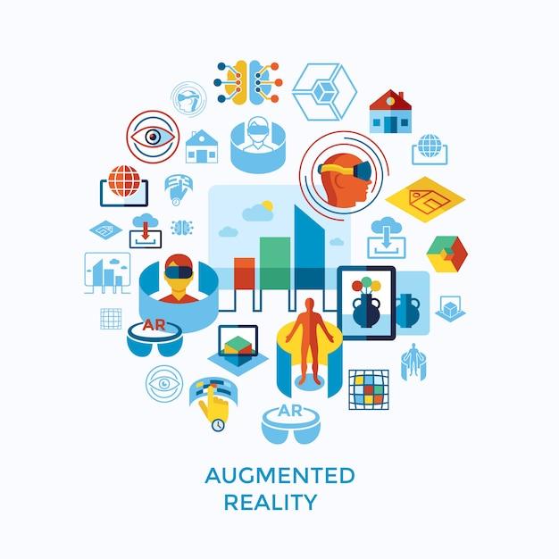 Collection D'icônes De Réalité Augmentée Et Virtuelle Vecteur Premium