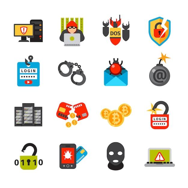 Collection d'icônes de sécurité internet Vecteur Premium