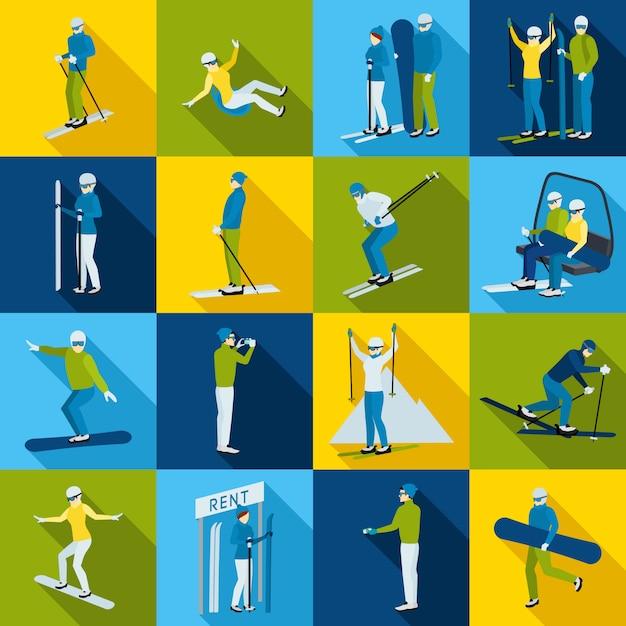 Collection d'icônes de station de ski avec des gens Vecteur gratuit